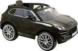 Porsche Macan kinderauto 12 Volt accu Zwart - softstart - lederen stoel