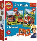 Brandweerman sam 2 x puzzel  en 1 x met memo