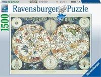 Ravensburger puzzel - Wereldkaart met fantastierijke dieren - 1500 stukjes