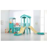 Speelhuis met dubbele glijbaan - afgeronde hoeken voor binnen en buiten - speelkasteel