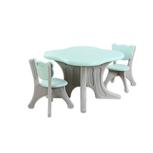Kunstof kinder tafel en beren stoeltjes - turquoise