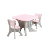 Kunstof kinder tafel en beren stoeltjes - roze