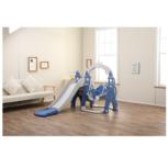 3 in 1 Kinder glijbaan, schommel en basketbalrek - voor binnen en buiten - blauw