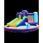 AirMyFun Opblaaskasteel met glijbaan, speeltuin en springkussens, waterkanon - Magic Island - Blower en opbergtas inbegrepen