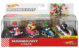 Hot Wheels Mario Kart Die-cast 4-Pack - Speelfiguren