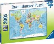 Ravensburger puzzel - Wereldkaart - 200 stukjes XXL