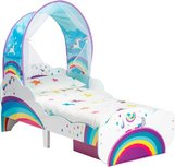Himmelbett für Kleinkinder mit Einhorn und Stauraum unter dem Bett