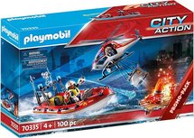 PLAYMOBIL City Action Fire brigade mission with helicopter and boat - 70335