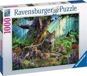 Ravensburger puzzel - Familie wolf in het bos - 1000 stukjes