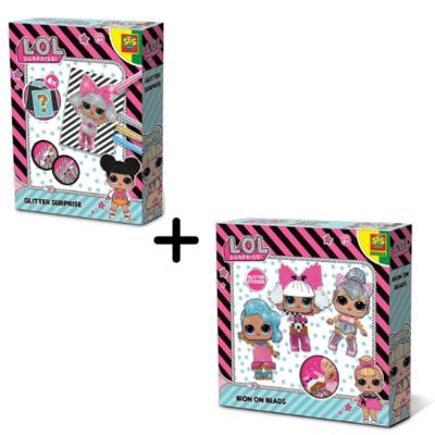 LOL Surprise strijkkralen en glitterkaarten - dubbel pakket