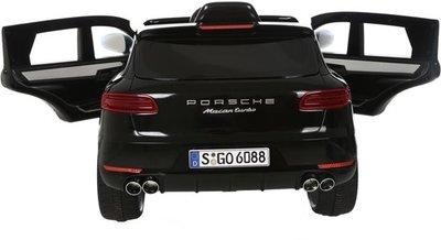 Porsche Macan - kinderauto 12 Volt accu -  Zwart - kunstlederen stoel