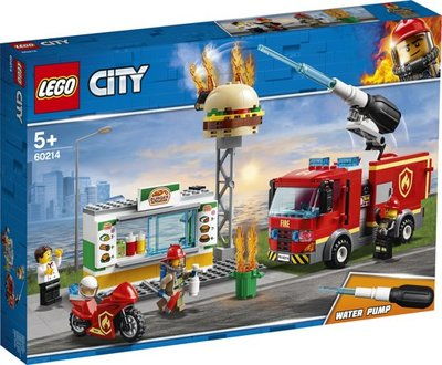 Lego City - Brand bij het Hamburgerrestaurant en Vuilniswagen - 60214 +  60220