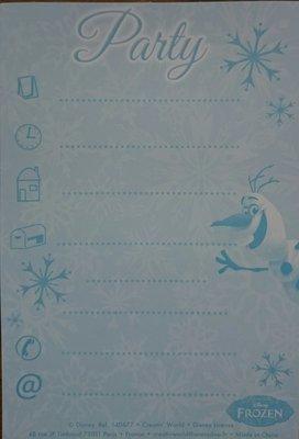 Frozen uitnodings kaartjes