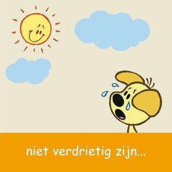 Wenskaart  Woezel en Pip : Niet verdrietig zijn