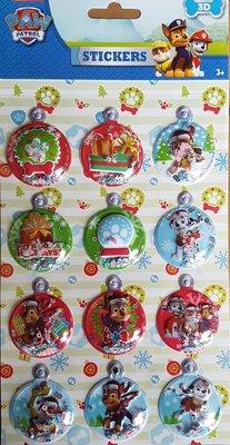 Paw Patrol kerst bubble 3D stickers