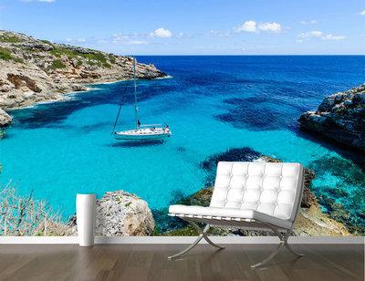 Fotobehang pad zeilbootje op zee, nr 488,  400 x 280 cm
