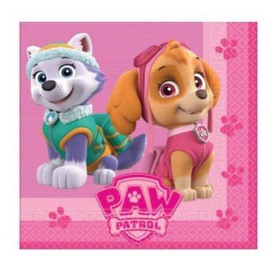 Paw Patrol servetten met Skye en Everest , roze