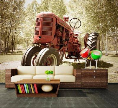 Fotobehang traktor,  nr 517,  400 x 280 cm