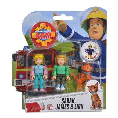 Brandweerman Sam poppetjes, Sarah, James en Lion