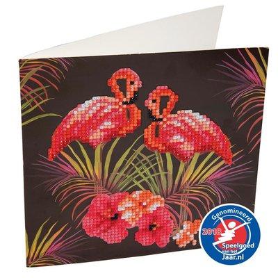 Crystal Art kaart Flamingos