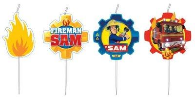 Brandweerman Sam mini taart kaarsjes, 4 st