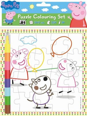 Peppa Pig puzzel om in te kleuren