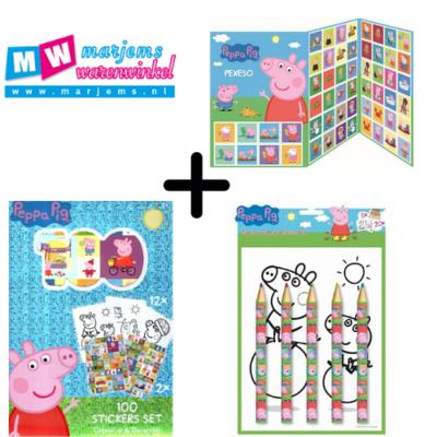 Peppa Pig kleurplaten set met stickers, potloden en memory
