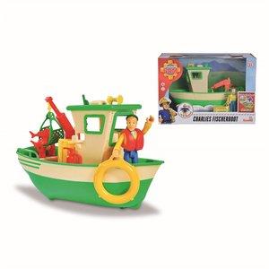 Met deze vissersboot van Charlie uit de films van Brandweerman Sam kunnen kinderen zelf hun verhaal maken en met het bootje in