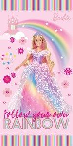 Barbie strandlaken - regenboog meisjes - katoen