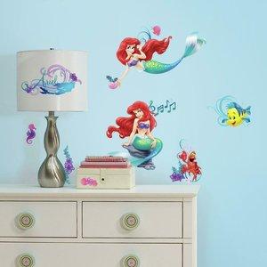 De kleine zeemeermin muurstickers - RoomMates -  met glitterelementen