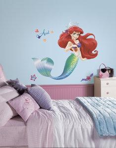 De kleine zeemeermin XL muursticker - RoomMates -  met glitterelementen