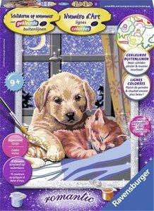Schilderen op Nummer - Hond en kat slapend
