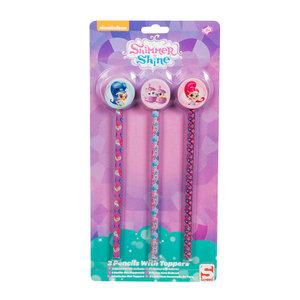 Shimmer & Shine Potloden met Gumtoppers, 3st.